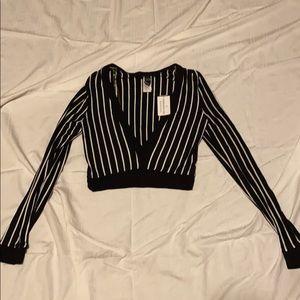 Windsor striped long sleeve crop top